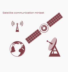 Satellite communication miniset vector