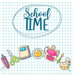 school time doodle clip art greeting card vector image
