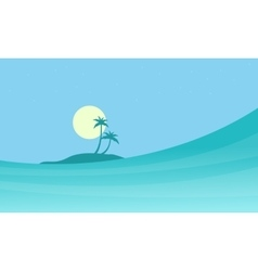 Sea and island landscape of silhouettes vector
