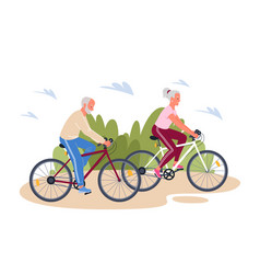 senior elderly couple enjoying cycling in summer vector image