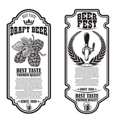 set beer flyers with hop design element for vector image