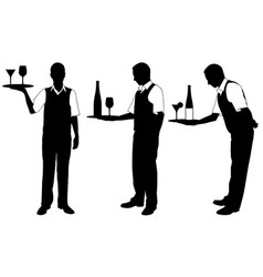 set different waiters with trays vector image
