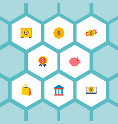 set of commerce icons flat style symbols with cash vector image