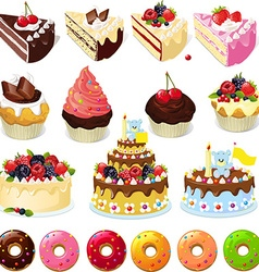 Set of sweets and cakes vector
