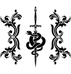 Snake and sword stencil vector image