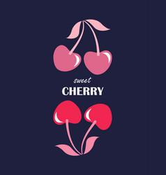 sweet cherry fashion slogan vector image