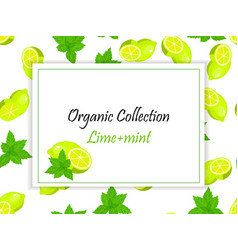 sweet juicy whole and slice lemon and mint vector image