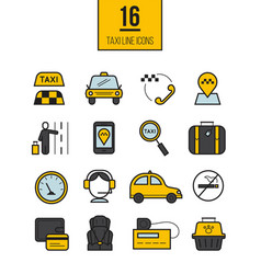 taxi app linear icons set vector image