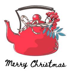Teapot christmas color set vector