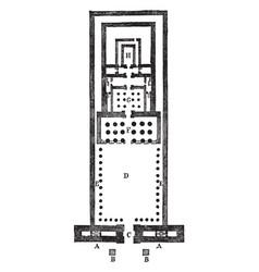 temple of edfu vintage engraving vector image