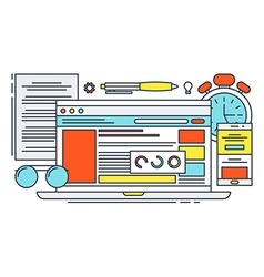 Thin Line Flat Design Concept for Online Office vector image