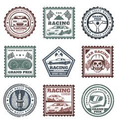Vintage car sport racing stamps set vector