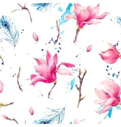 Watercolor Seamless Pattern with Flowers Magnolia vector