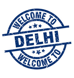 Welcome to delhi blue stamp vector