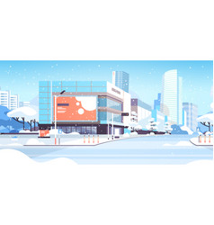 winter city snowy downtown street with skyscrapers vector image