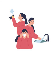 woman using protection for coronavirus vector image