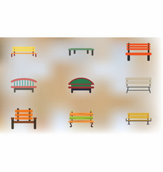 Wooden bench collection vector