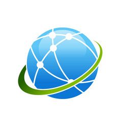 worldwide broadband satellite swoosh symbol logo vector image
