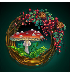 wreath vines and leaves with amanita mushroom vector image