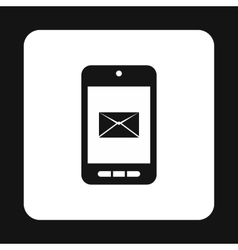 Writing e-mail on phone icon simple style vector