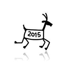 Funny goat sketch Symbol of 2015 new year vector image vector image