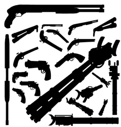 guns and weapons silhouettes vector image