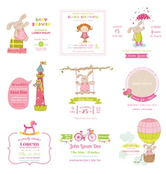 Set of Baby Shower and Arrival Cards vector image vector image