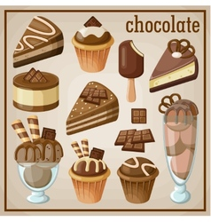 Set of sweets and chocolate vector image