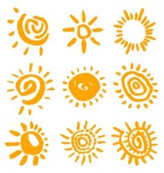 sun symbols vector image vector image