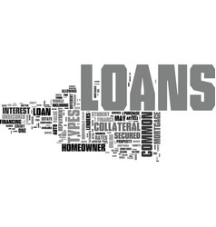 A look at common types of loans text word cloud vector