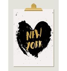 Black Heart New York Poster vector image vector image