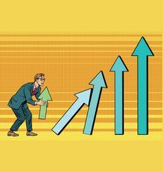 businessman destroys growth charts sales vector image