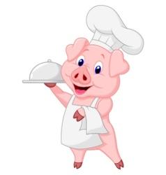 Cute pig chef cartoon holding platter vector image