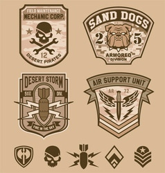 Desert military patches vector image vector image