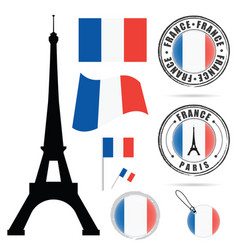 france flag set with tour eiffel design in vector image