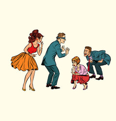 Hide and seek game adults play vector