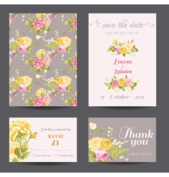 Invitation Flower Card Set - Save the Date vector image vector image