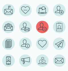 Set of 16 social network icons includes bullhorn vector