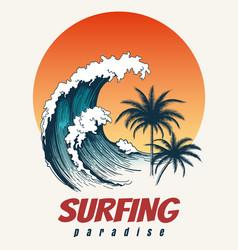 surfer big wave retro poster vector image