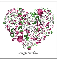 Bright heart made of flowers in vector image vector image
