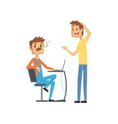 computer technician helping office worker vector image