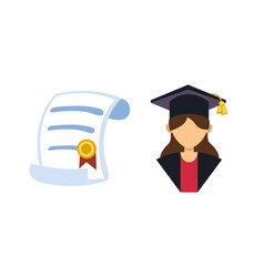 graduation woman silhouette uniform avatar vector image