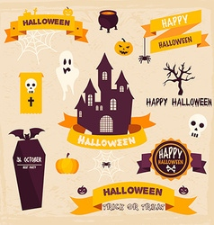 Halloween Badges and Labels in Vintage style vector image vector image