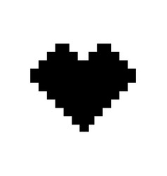 pixel heart icon black sign vector image