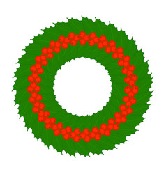 christmas holly berry wreath isolated vector image