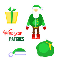 funny red santa claus with bag and gift present vector image