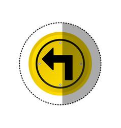 sticker metallic realistic yellow circular frame vector image vector image