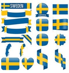 Sweden flags vector image