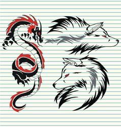 tribal dragon and wolf vector image