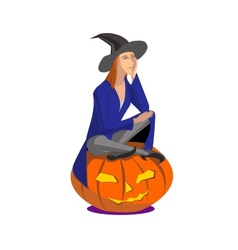 Witch sitting on a pumpkin on a white background vector image vector image